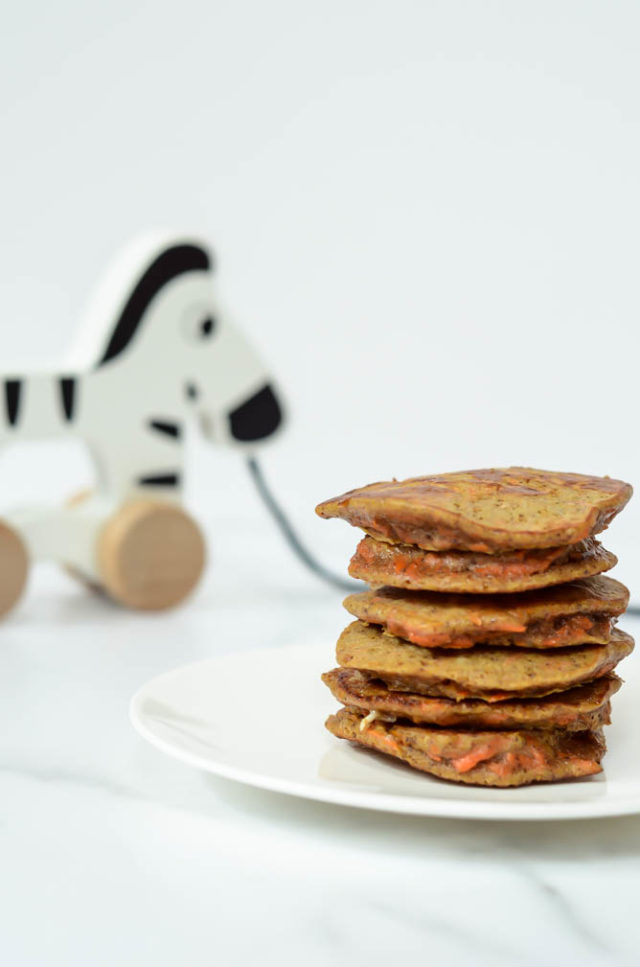 These Healthy Carrot Cake Pancakes (with no added sugar) are the perfect recipe for baby-led weaning, but all babies will enjoy them!