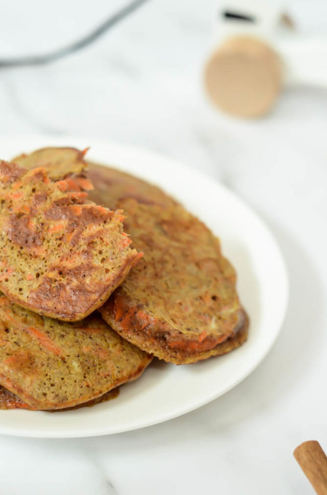 Make a batch of these Healthy Carrot Cake Pancakes the next time you do food prep and you'll have healthy kids' snacks for the rest of the week!