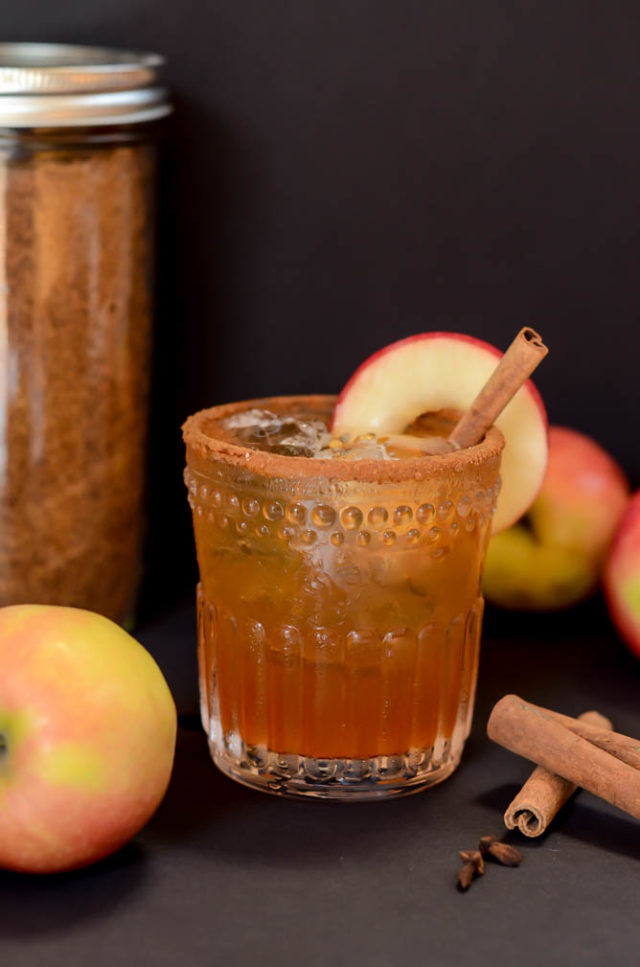 Maple syrup and spiced apple cider are the perfect additions to this Old Fashioned Cocktail.