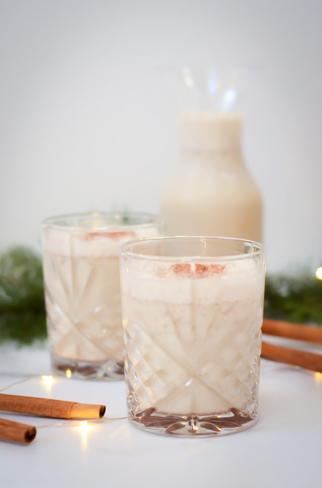 This Dairy-Free Eggnog Recipe uses oat milk as its base and is the perfect lightened up treat for the holidays!