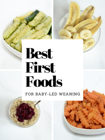 Title graphic showing four of the best first foods for baby-led weaning, including zucchini, squash, bananas and oatmeal.