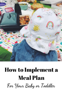 Title graphic for How to Implement a Meal Plan for Your Baby or Toddler, with a photo of a baby looking on to a picnic of food.