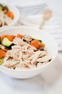 The Easiest Instant Pot Shredded Chicken is perfect when combined with some whole grains and roasted vegetables in a bowl for a healthy meal.