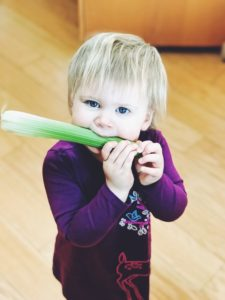 A happy toddler gnawing on an entire stalk of celery.