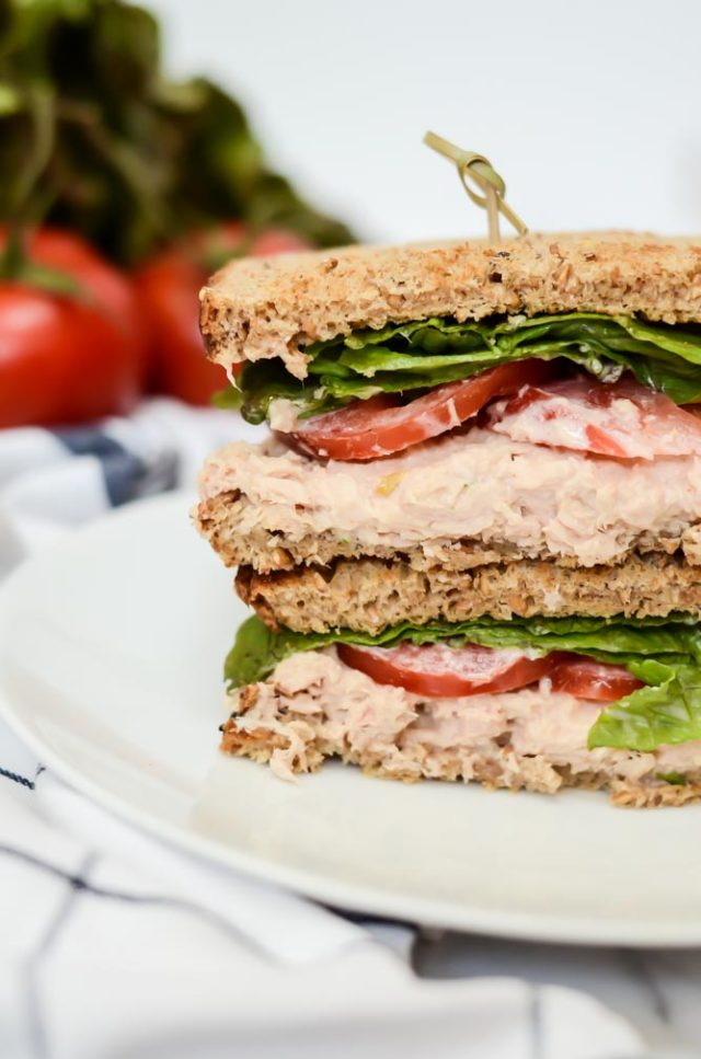 A Quick-and-Healthy Tuna Salad Sandwich cut in half and ready to enjoy.