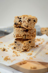 A stack of soft and crunchy granola bars. A favorite food of 18-month-olds!