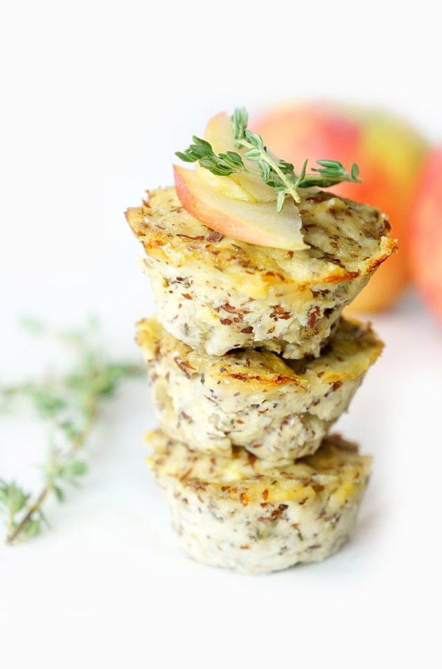 A stack of three Turkey Apple Meatloaf Muffins - a great toddler-friendly snack!