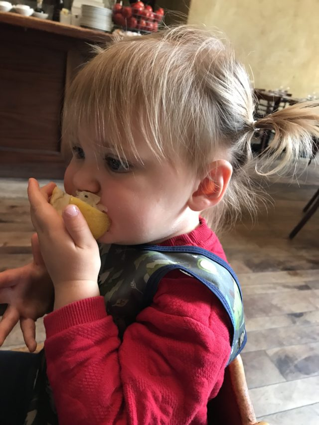 A toddler snacking on a lemon wedge.