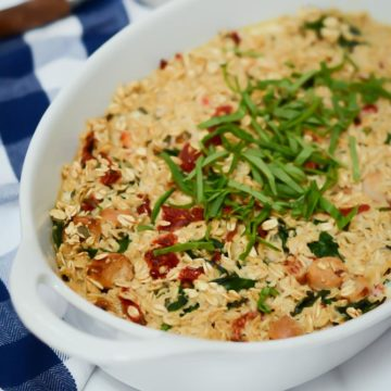 A baking dish of Savory Baked Oatmeal, the perfect family-friendly breakfast!