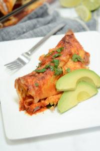 A single serving of delicious make-ahead breakfast enchiladas.
