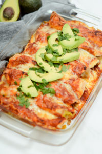 A finished dish full of Make-Ahead Breakfast Enchiladas.