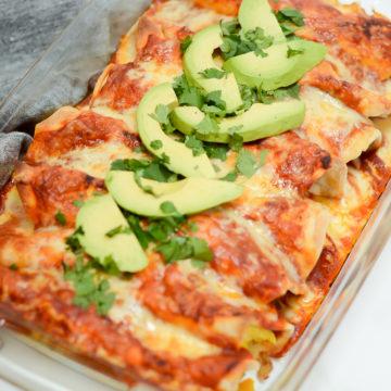 A finished dish full of Make-Ahead Breakfast Enchiladas.