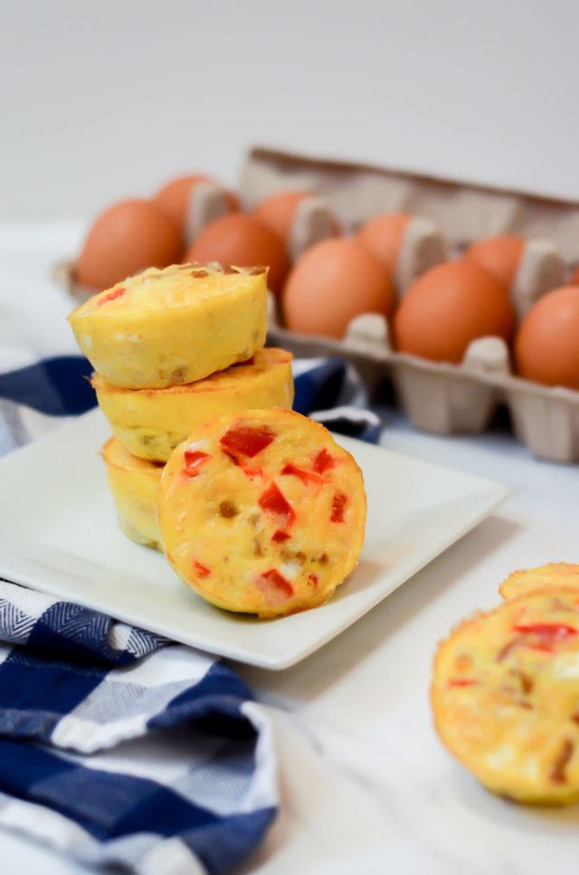 A stack of Fiesta Egg Muffins - a great make-ahead snack for 10-month-olds!