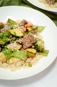 A dish of Easy Weeknight Beef and Veggie Stir-Fry ready to enjoy.