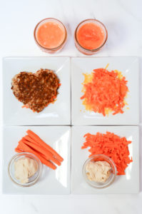 Six different stages of serving carrots in food to introduce new flavors to your toddler.