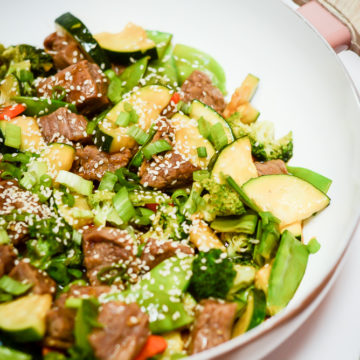 A close-up of a big pan full of Easy Weeknight Beef and Veggie Stir-Fry.