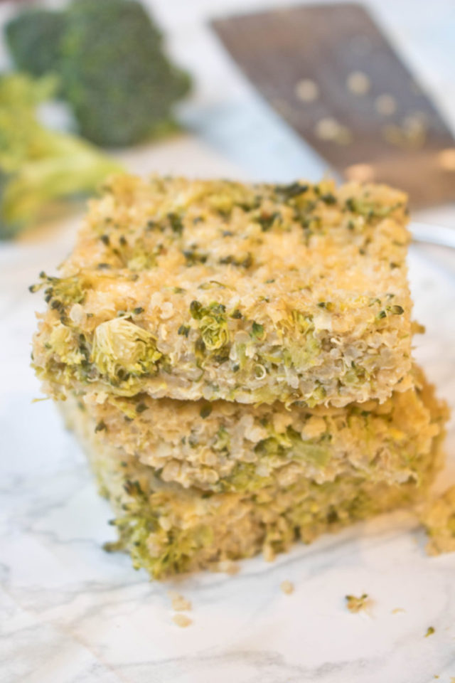 A stack of two broccoli cheddar quinoa bars.