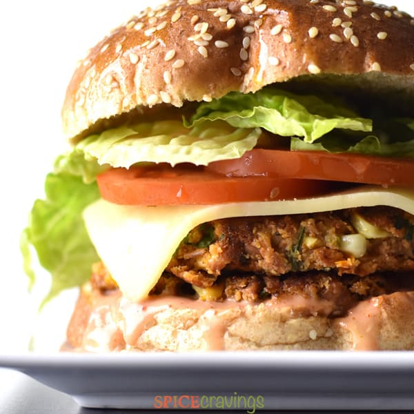 A close-up shot of a veggie burger.