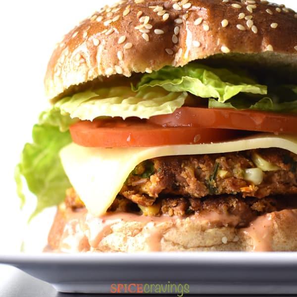 A close-up shot of a veggie burger.