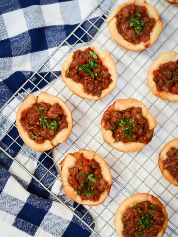 An overhead shot of Not-So-Sloppy Joes laid out on a cooling rack.