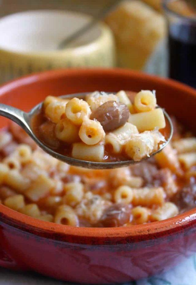 A spoonful of pasta e fagioli.