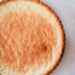 An overhead shot of a beautifully golden, gluten-free almond flour crust.