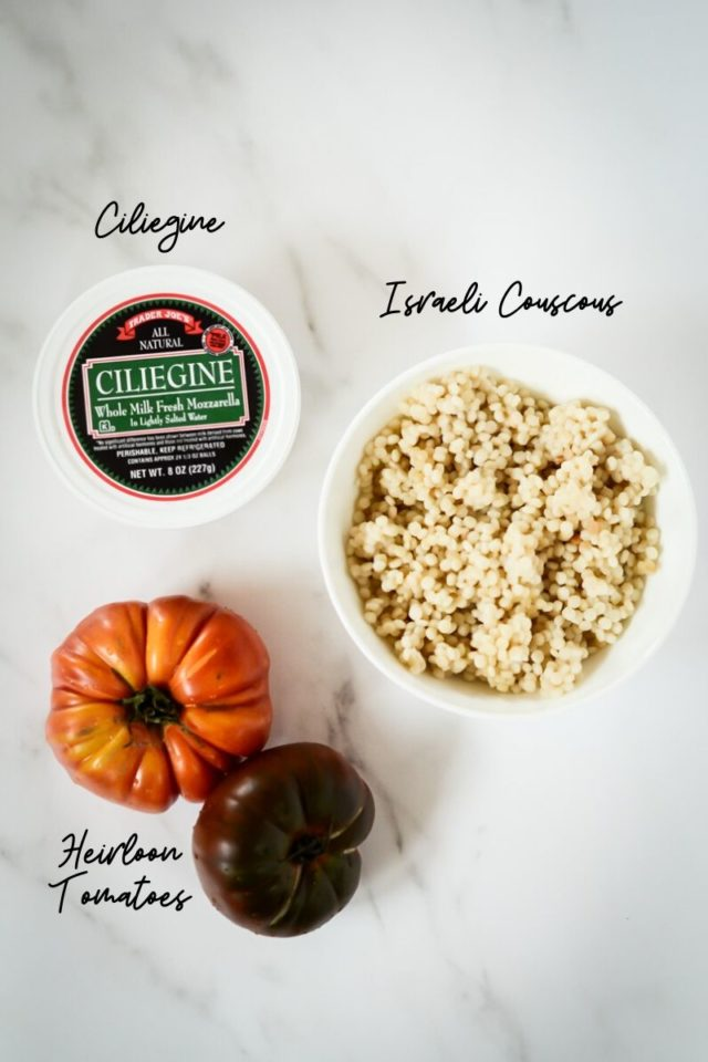 The remaining ingredients needed to make Hazelnut Pesto Caprese Couscous.