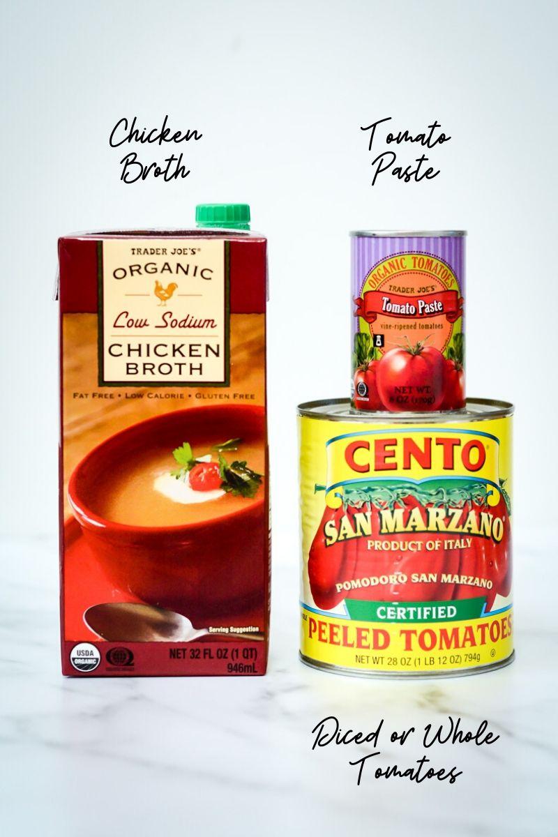 Pantry ingredients needed to make Hidden Veggie Pasta Sauce.