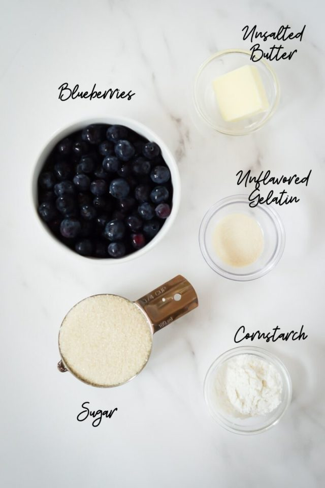 All of the ingredients needed to make the blueberry compote layer of Patriotic Cheesecake Bites.