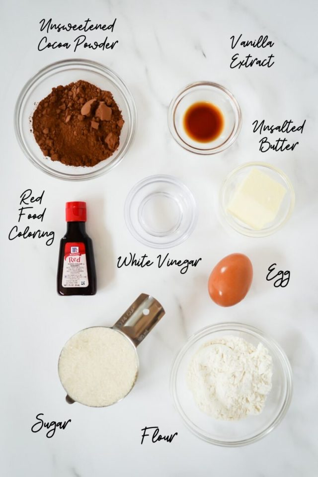 All ingredients needed to make the red velvet brownie layer of Patriotic Cheesecake Bites.