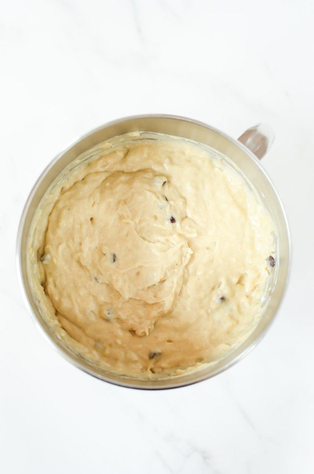 A bowl of the finished batter for banana bread.