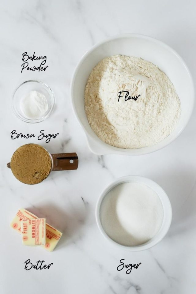 Half of the ingredients needed to make Coconut Chocolate Chip Banana Bread.