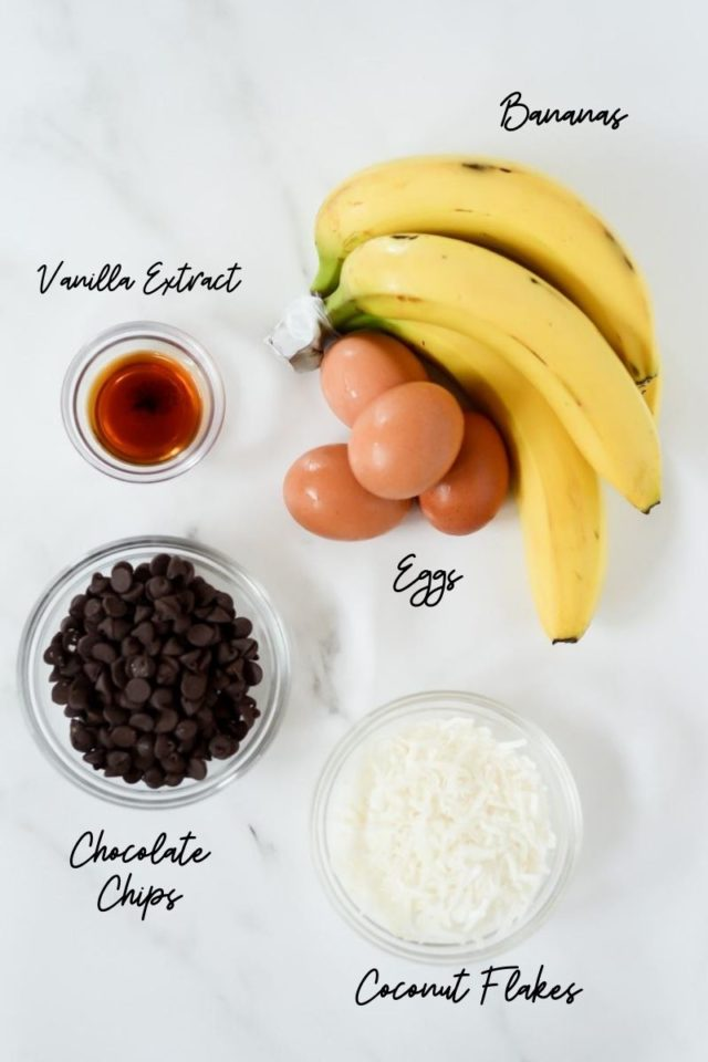The second half of the ingredients needed to make Coconut Chocolate Chip Banana Bread.
