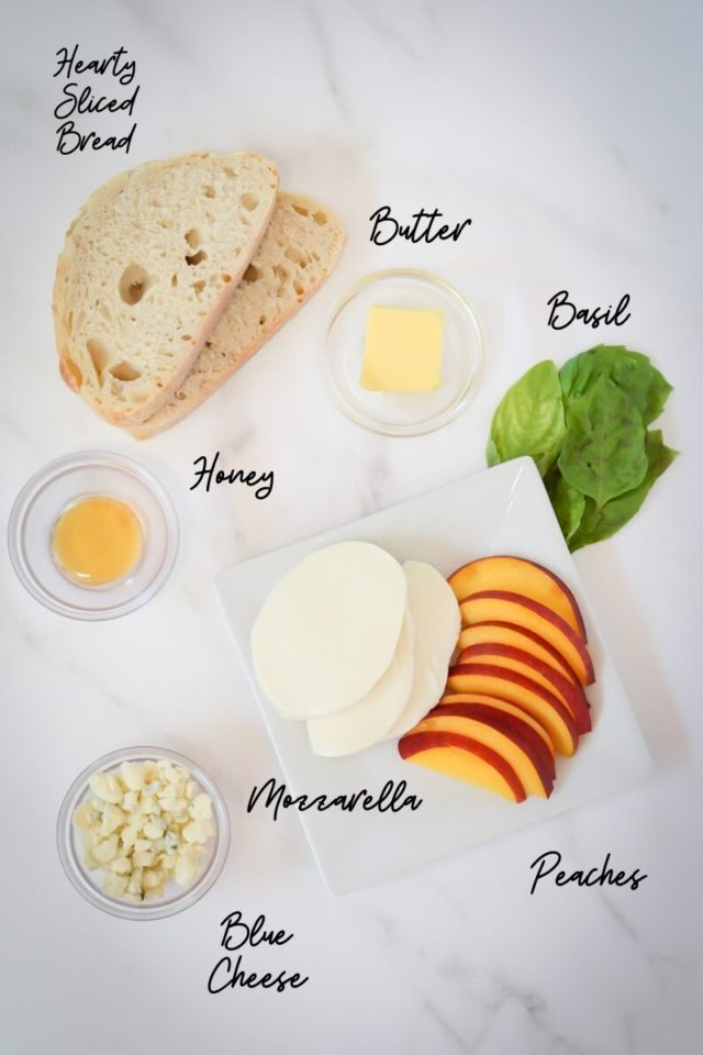 All of the ingredients needed to make Honey, Peach and Basil Two-Cheese Grilled Cheese.