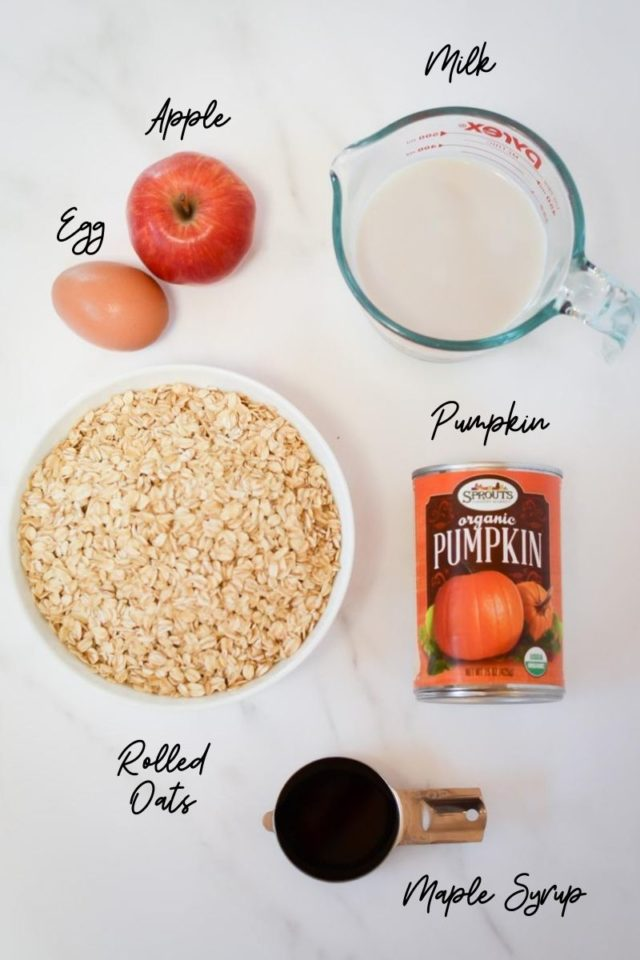 The ingredients needed to make Pumpkin Apple Baked Oatmeal Cups.