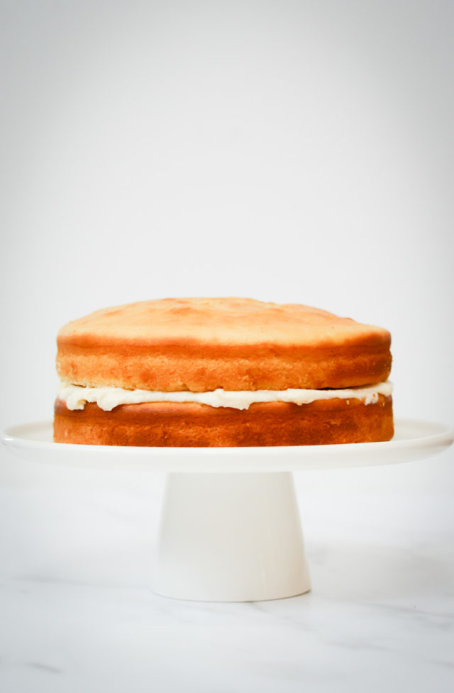 Two layers of vanilla cake on a white cakestand.