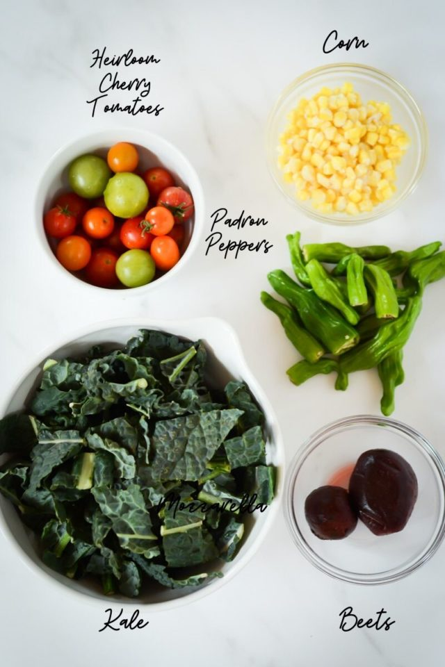 The first half of the ingredients needed for summer kale salad.