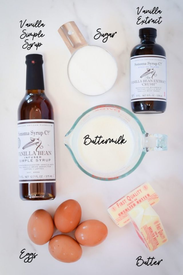 The first set of ingredients needed to make a simple vanilla cake.