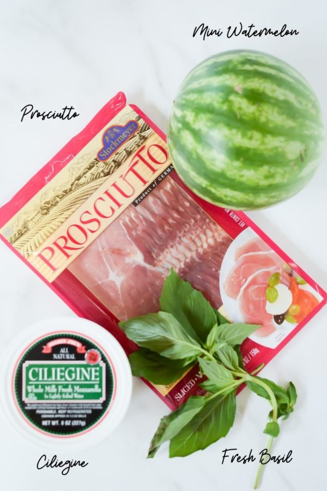 All ingredients needed to make Watermelon Caprese Salad.