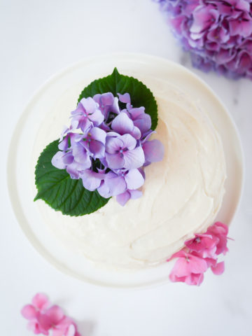 Overhead shot of Vanilla Cake with Vanilla Buttercream.