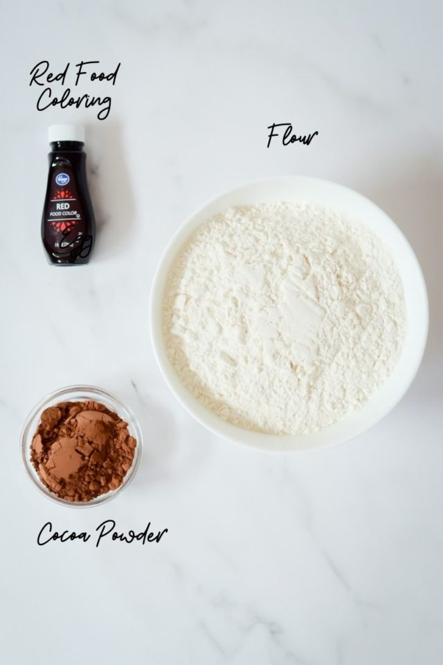 The second batch of ingredients needed to make red velvet whoopie pies.
