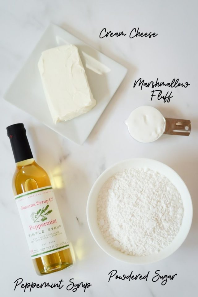 Ingredients needed to make peppermint cream cheese filling for whoopie pies.