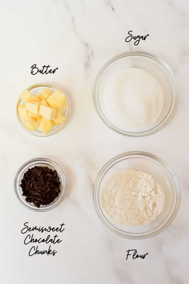 Ingredients needed to make chocolate streusel topping.