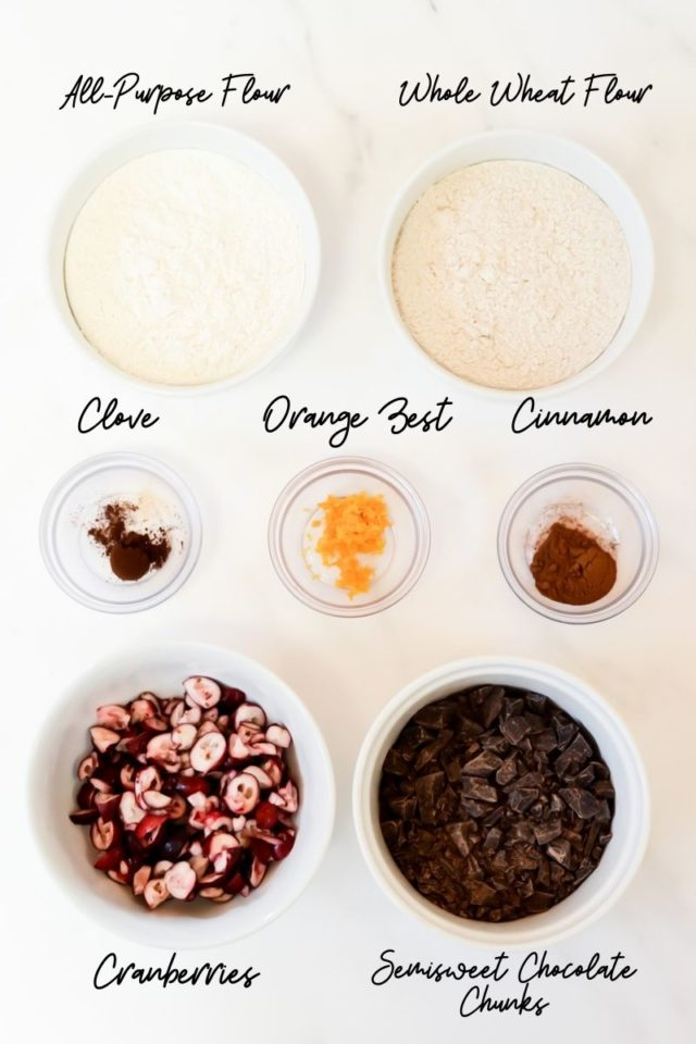 Some of the ingredients needed to make Cranberry Chocolate Chunk Muffins with Chocolate Streusel.