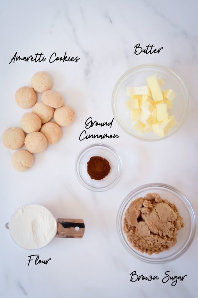 Ingredients needed for amaretti crumble.