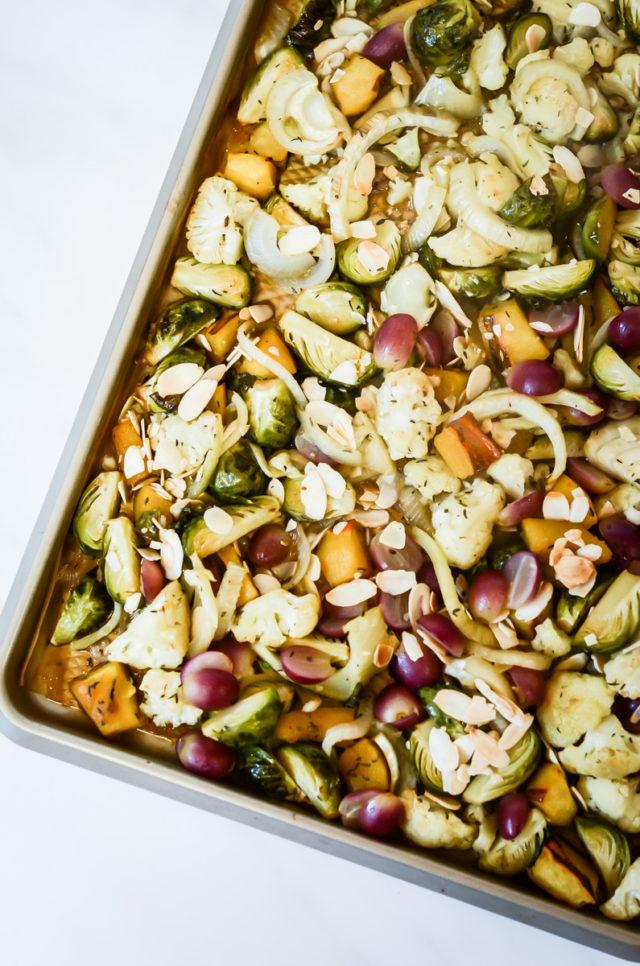 A sheet pan full of autumn vegetables.