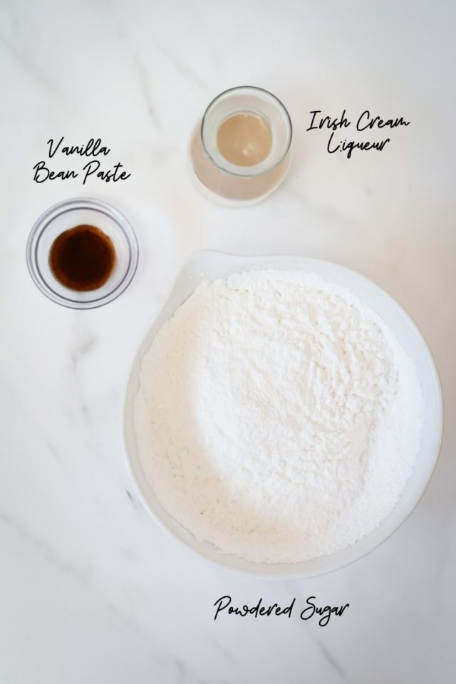 Ingredients for Irish cream buttercream frosting.