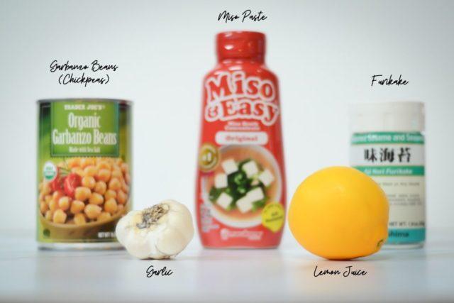 Ingredients needed for Miso Furikake Hummus.