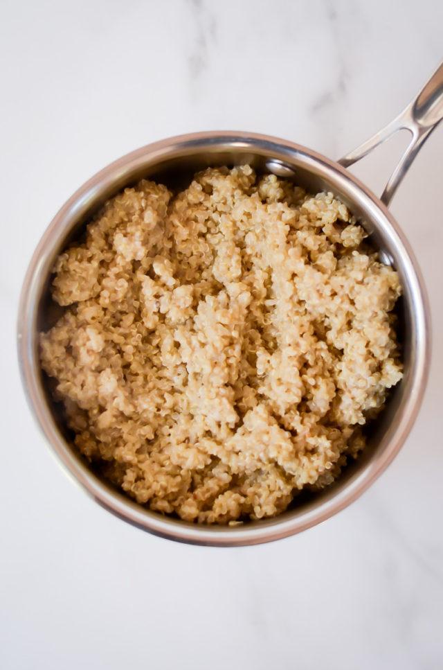 A saucepan of cooked quinoa.