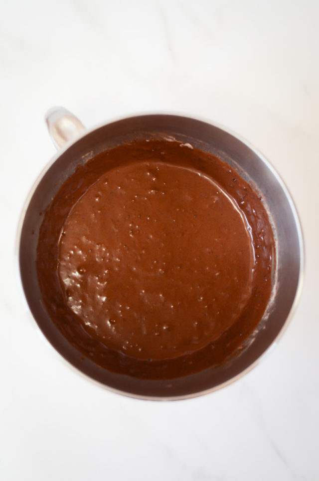 A mixing bowl of chocolate stout cupcake batter.